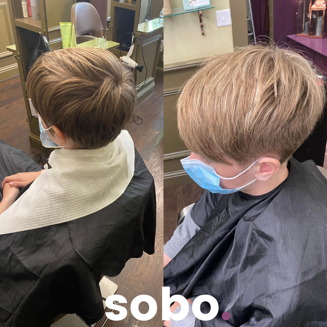 before and after of young gent cut