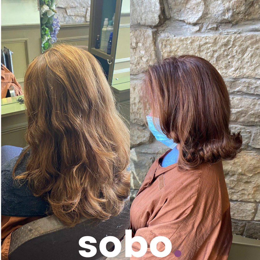 before and after pic of short red hair