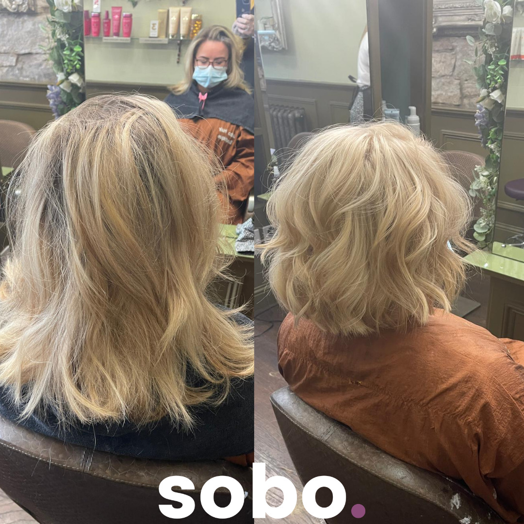 before and after of short bleach blonde bob