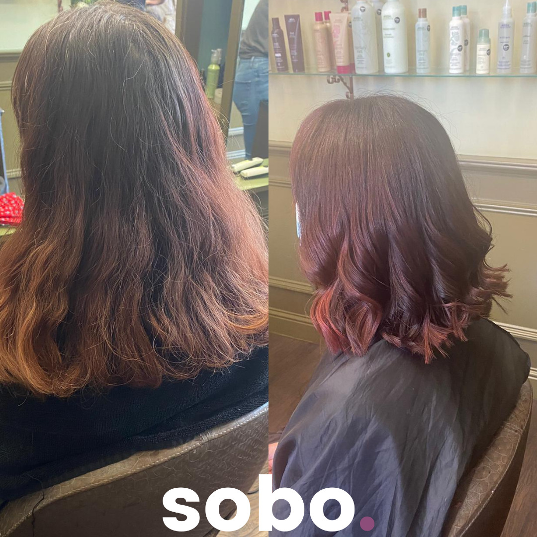 before and after or red colour hair