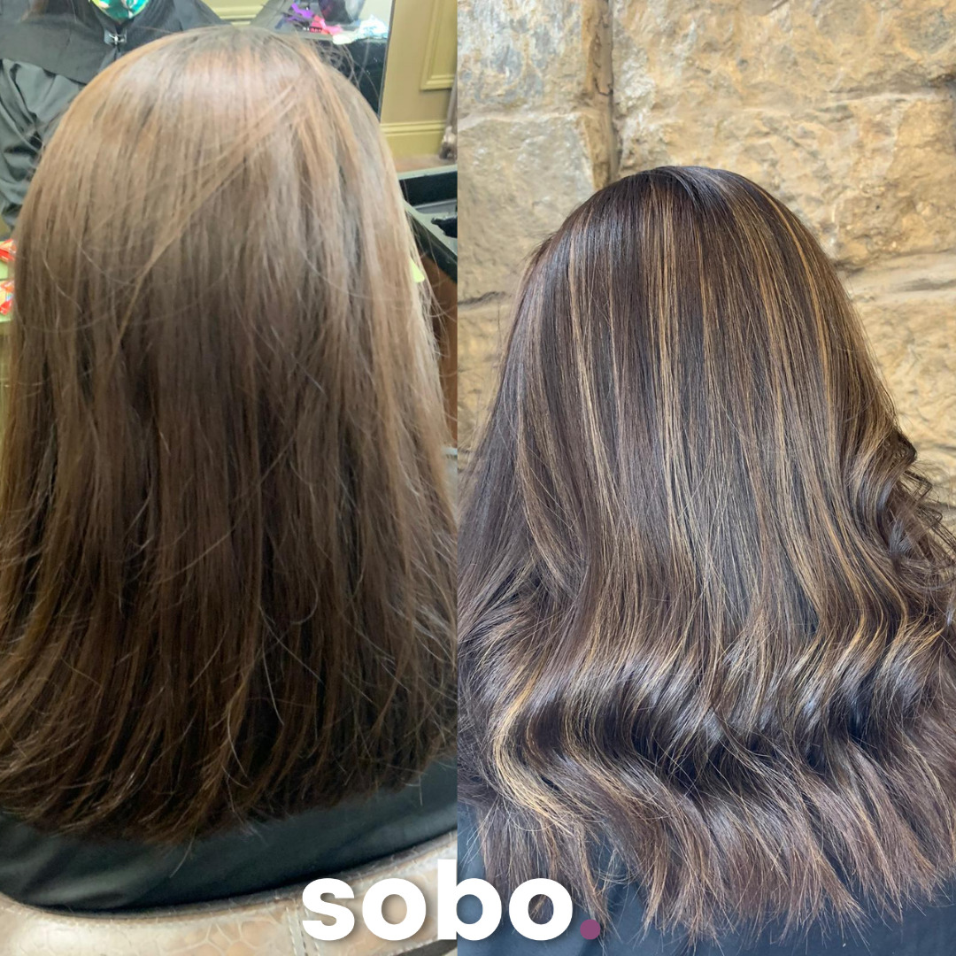 before and after pic of brunette hair after colouring