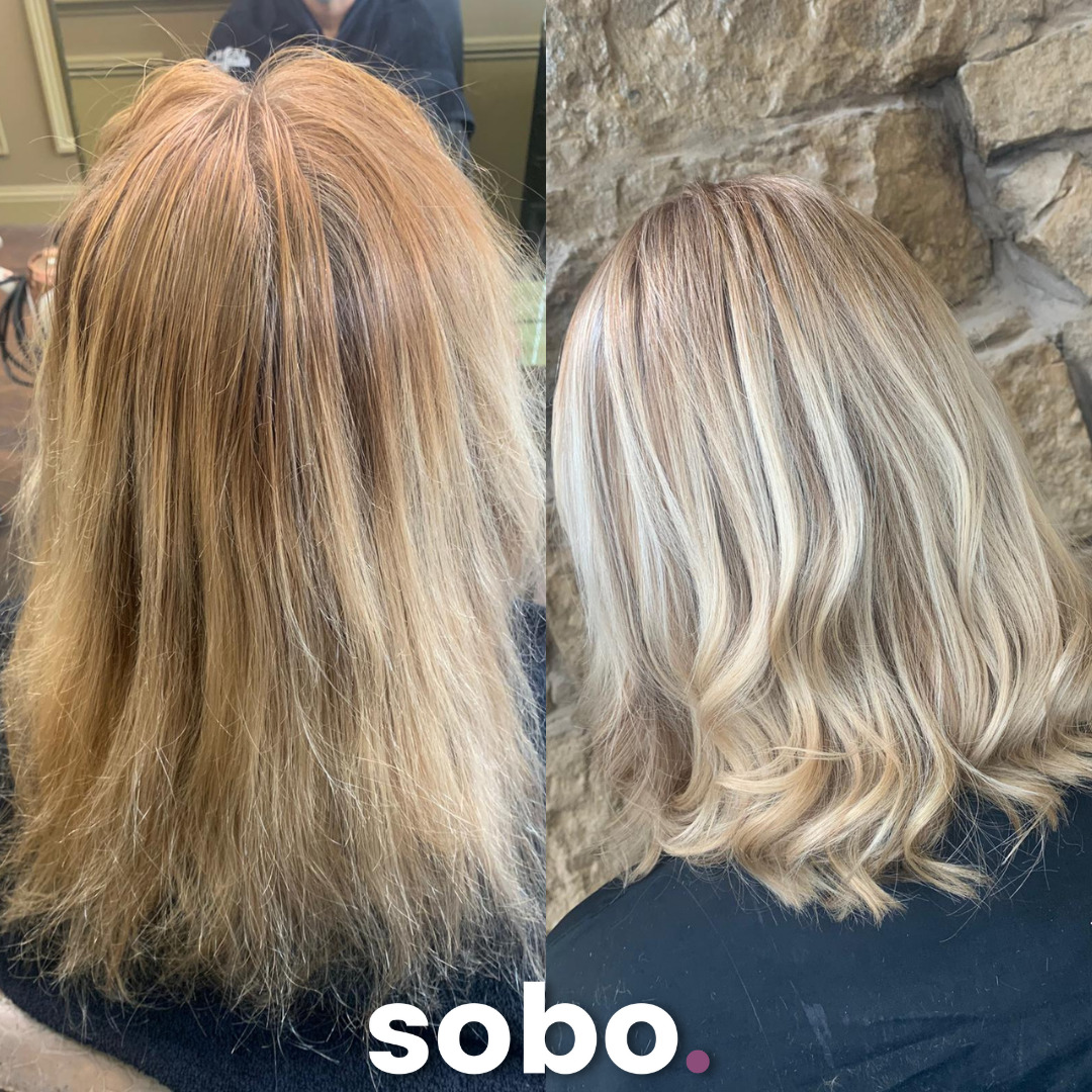 before and after of fresh blonde colour