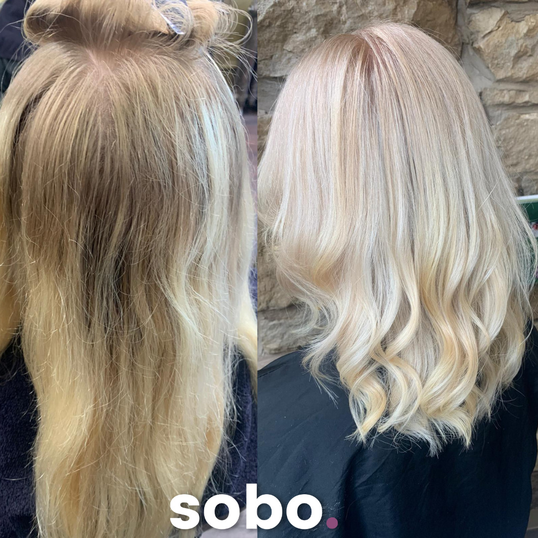 before and after pic of blonde root touch up