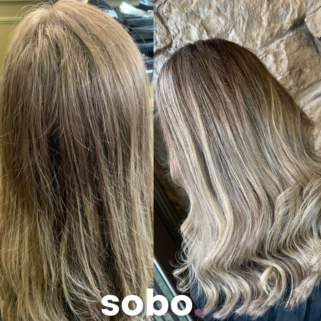 before and after pic of blonde highlights
