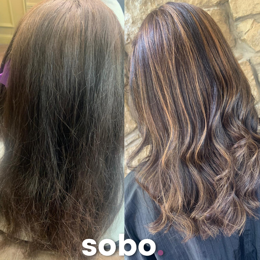 Before and after of freshly coloured brunette hair