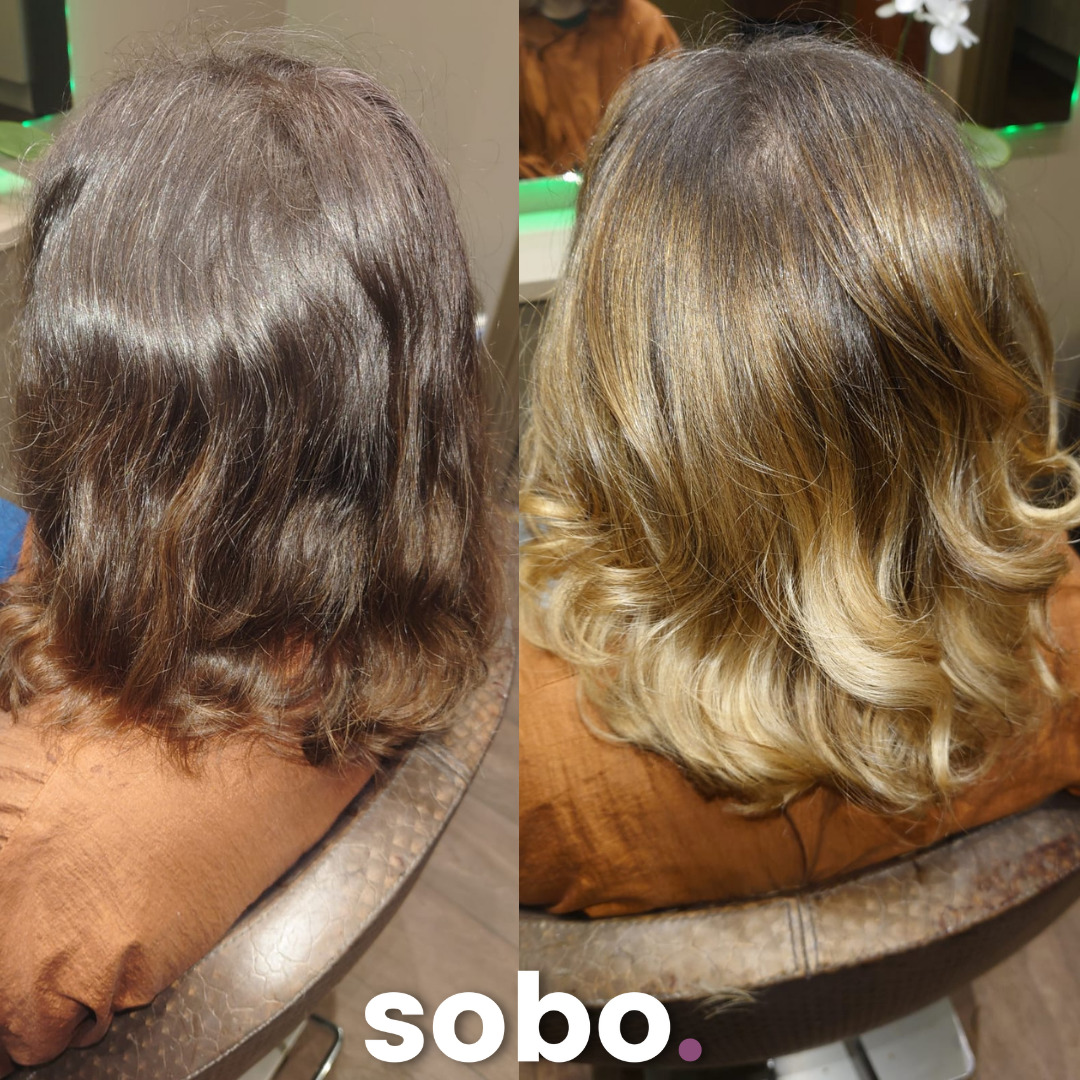 before and after of blonde balayage on woman