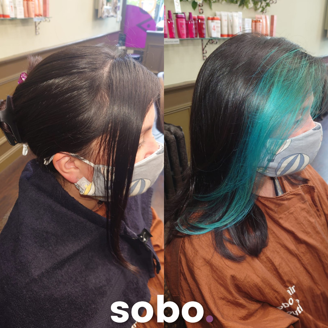 before and after of dyed blue fringe on woman