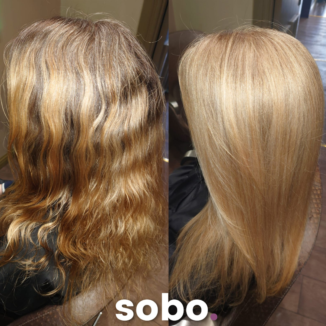 before and after of full head of highlights on a woman