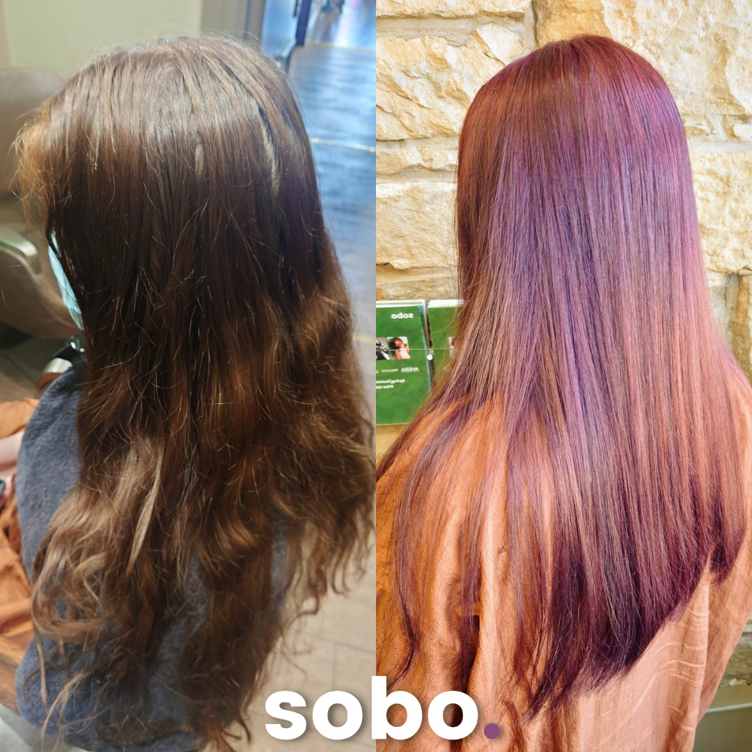 before and after of red hair colour on woman