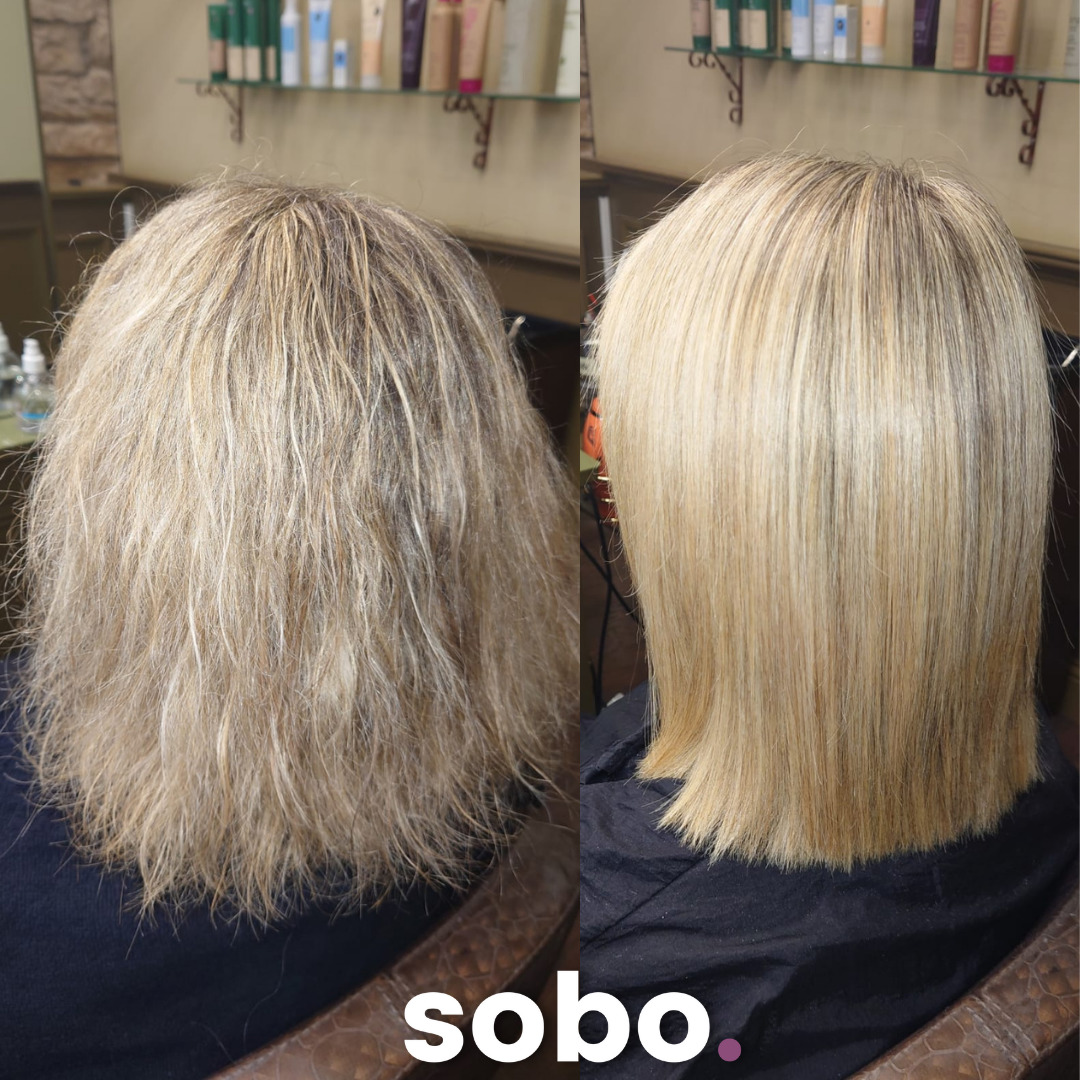 before and after of short blonde bob