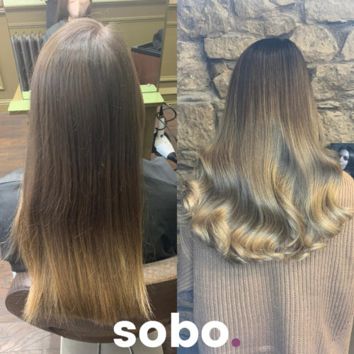 before and after of dark blonde balayage