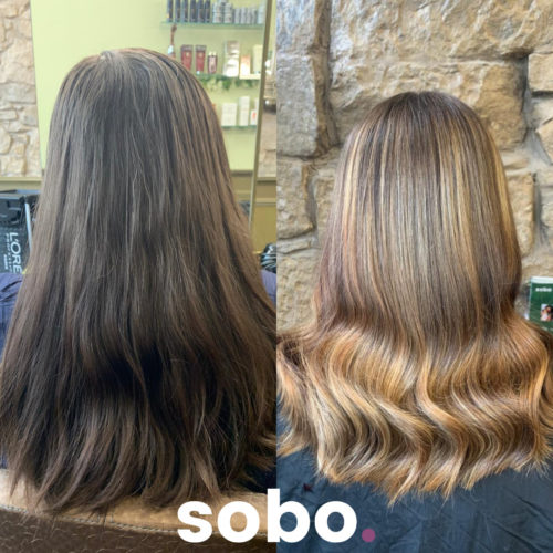 before and after pic of warm brunette balayage